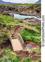 gyönyörű, godafoss, vízesés, izland