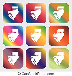 gyönyörű, gombok, fényes, vektor, kilenc, icon., gradients, gramofon, design.
