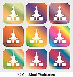 gyönyörű, gombok, fényes, vektor, kilenc, templom, gradients, ikon, design.