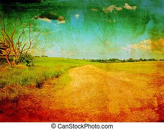 gyönyörű, grungy, út, háttér, vidéki