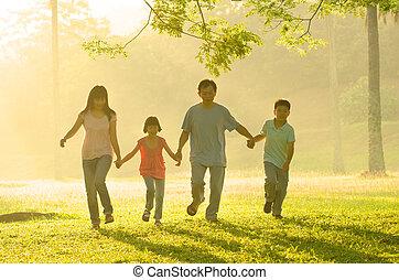 gyönyörű, gyalogló, család, liget, napkelte, ázsiai, közben...