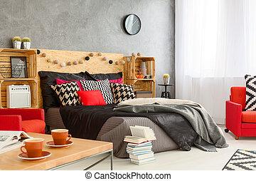 gyönyörű, hálószoba, ideális, helyett, kipiheni magát