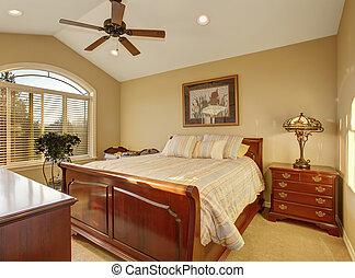 gyönyörű, hálószoba, noha, csíkos, bedding.