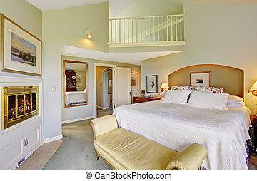 gyönyörű, hálószoba, tágas, fedélzet