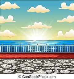 gyönyörű, háttér, színhely, tenger, karikatúra, napkelte