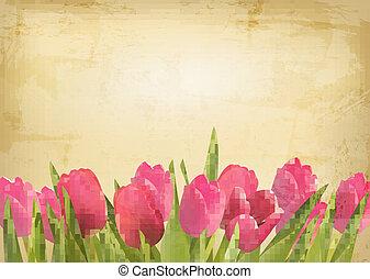 gyönyörű, háttér., szüret, valentin nap, tulipán, vektor, menstruáció, texture.