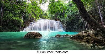gyönyörű, háttér., vízesés, táj, természet
