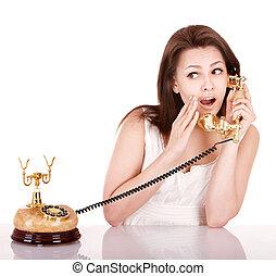 gyönyörű, hívás, nő, telefon., fiatal