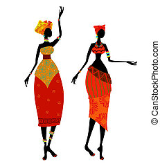 gyönyörű, hagyományos, nő, jelmez, afrikai