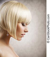 gyönyörű, haircut., rövid, egészséges, frizura, szőke,...