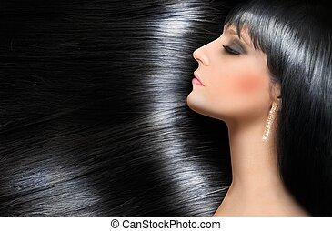 gyönyörű, haj, barna nő, fényes, fahasáb