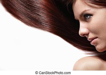 gyönyörű, haj, leány, meglehetősen