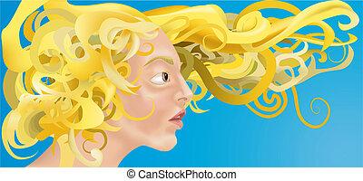 gyönyörű, haj, nő