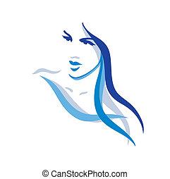 gyönyörű, haj, nő, hosszú