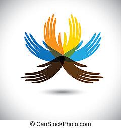 gyönyörű, hands-, kiállítás, virág, szövetség, színes, emberek, ez, együtt, elvont, s a többi, közösség, egység, fogalom, szirom, vektor, ábra, emberi kezezés, őt consists, graphic.
