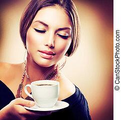gyönyörű, hanglejtés, coffee., tea, tintahal, ivás, leány, vagy