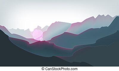 gyönyörű, hegyek, csúcs, napkelte