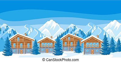 gyönyörű, hegyek, faház, illustration., havas, tél, houses., erőforrás, erdő, fenyő, táj, alpesi növény