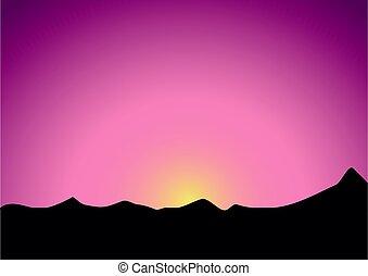 gyönyörű, hegyek, felett, sötét, napkelte