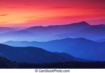 gyönyörű, hegyek, táj
