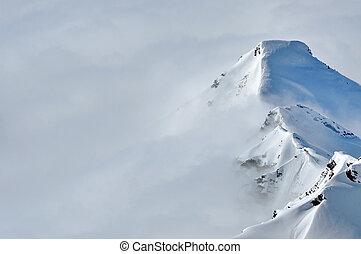 gyönyörű, hegyek, tél