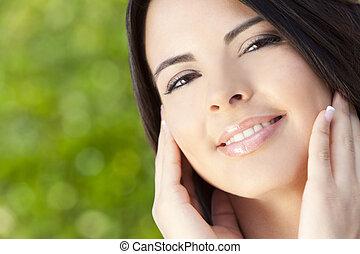 gyönyörű, hispanic woman, latina, portré
