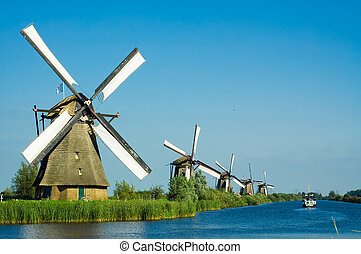 gyönyörű, holland, szélmalom, táj