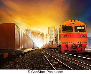 gyönyörű, ipari, trainst, állhatatos, szállít, alkalmaz, konténer, industindustries, nap, ég, város, ügy, útvonal, marhavagon, vasutak, futás, háttér, épület, vidék, transportationry, ellen, munkaszervezési