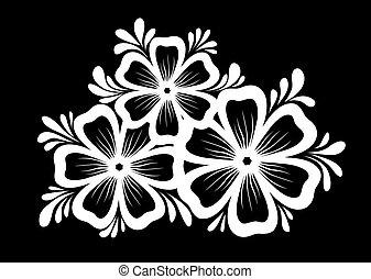 gyönyörű, isolated., zöld, fekete, monochrom, white virág