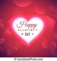 gyönyörű, izzó, szív, képben látható, rózsaszín háttér, helyett, valentin nap
