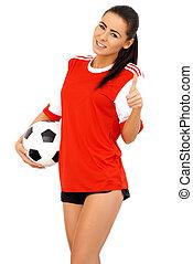 gyönyörű, játékos, futball, női