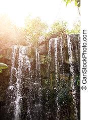 gyönyörű, jungle., vízesés, kilátás