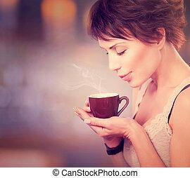 gyönyörű, kávécserje, coffee., tea, ivás, leány, vagy