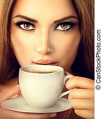 gyönyörű, kávécserje, coffee., tea, ivás, szexi, leány, vagy