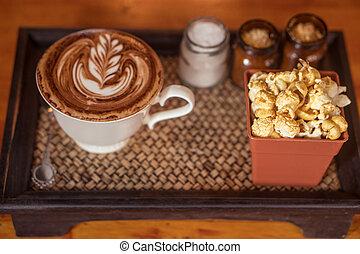 gyönyörű, kávécserje, facsemete, művészet, csésze
