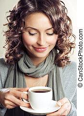 gyönyörű, kávécserje, nő, tea, ivás, vagy