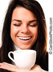 gyönyörű, kávécserje, woman portré, ivás, mosolygós