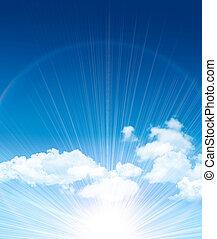 gyönyörű, kék ég, noha, elhomályosul