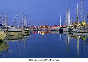 gyönyörű, kék, földközi-tenger, éjszaka, marina