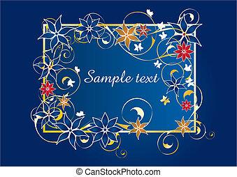 gyönyörű, kék, keret, virágos