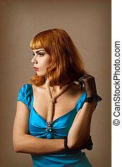 gyönyörű, kék, nő, ruha, retro