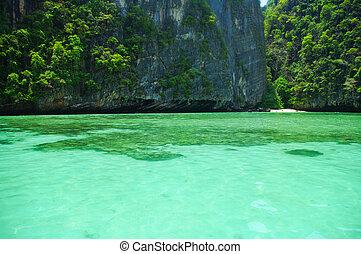 gyönyörű, kék, tenger, alapján, déli, thaiföld, ázsia