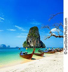 gyönyörű, kék, tengerpart., island., csónakázik, világos, thai ember, óceán, tropikus, homok, utazás, víz, thaiföld, fehér, fotográfia, táj