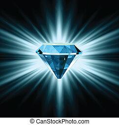 gyönyörű, kék, vektor, kristály, háttér.