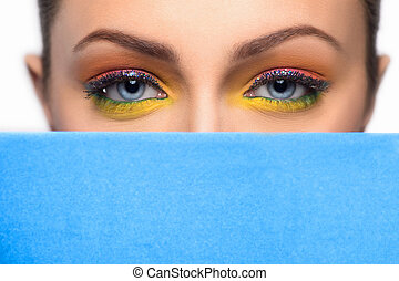 gyönyörű, kék, young külső, ruhaanyag, make-up., konfekcionőr, nők, ki