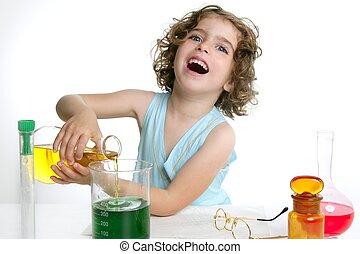 gyönyörű, kémia, kicsi lány, játék, alatt, labor