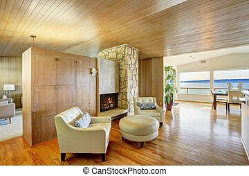 gyönyörű, kényelmes, ülés, faház, trim., ár, belső, palánk
