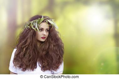 gyönyörű, képzelet, nő, alatt, erdő
