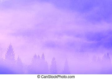 gyönyörű, ködös, reggel, alatt, hegyek