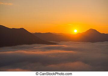 gyönyörű, köd, phutok, napkelte, reggel